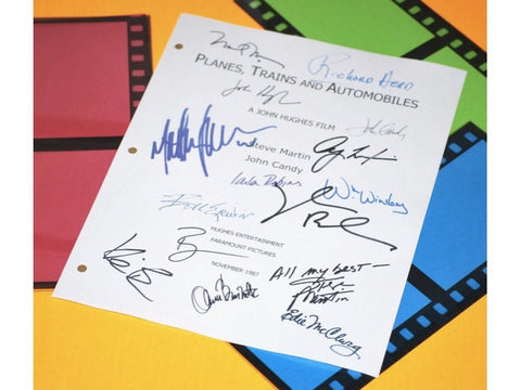 Planes, Traines, and Autombiles Movie Signed Screenplay Autographed: John Hughes, Steve Martin, John Candy, Laila Robins, Kevin Bacon & More