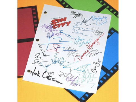 Sin City Movie Signed Screenplay Autographed: Quentin Tarantino, Jessica Alba, Davon Aoki, Elijah Wood, Bruce Willis, Brittany Murphy & More