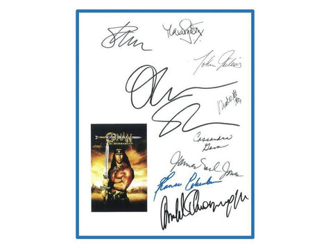 Conan the Barbarian Movie Script Autographed: Arnold Schwarzenegger, James Earl Jones, Oliver Stone, John Milius, Cassandra Gava & More