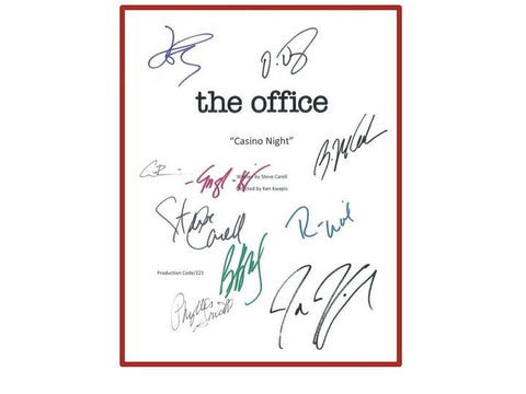 The Office Casino Night Episode Autographed: Steve Carell, John Krasinski, Jenna Fischer, Rainn Wilson, B.J. Novack, Oscar Nunez & More