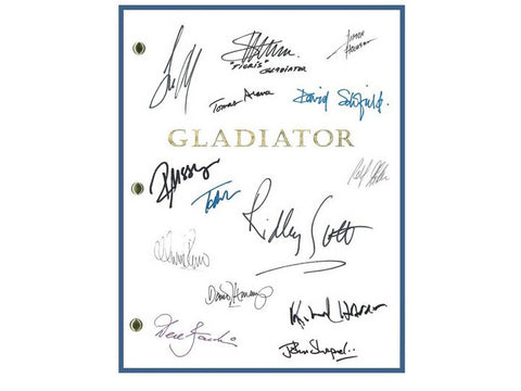 Gladiator Movie Script Autographed: Ridley Scott, Russell Crowe, Joaquin Phoenix, Oliver Reed, Richard Harris, Derek Jacobi, David Schofield