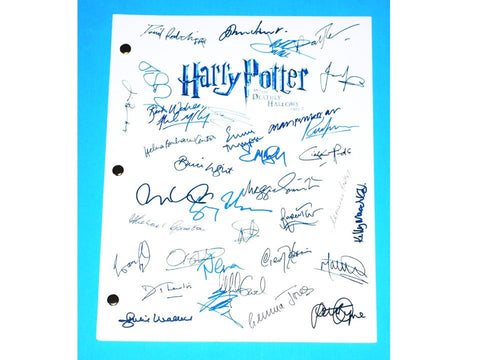 Harry Potter and the Deathly Hallows Part 2 Signed Movie Script Autographs J.K. Rowling, Alan Rickman, Daniel Radcliffe