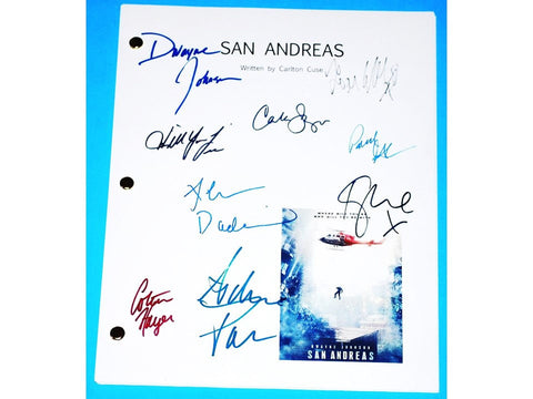 San Andreas Signed Script Dwayne Johnson, Carla Gugino, Ioan Gruffudd, Paul Giamatti and more