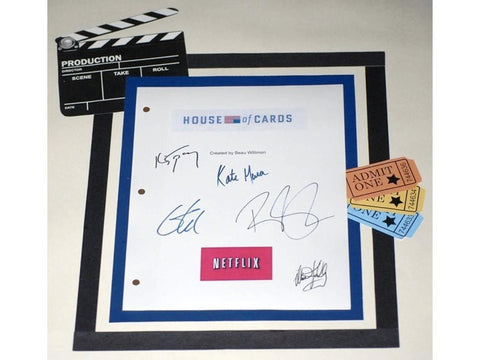 House of Cards Pilot Episode Autographed: Kevin Spacey, Robin Wright, Michael Kelly, Corey Stoll, Kate Mara