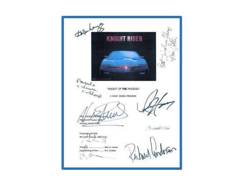 Knight Rider Pilot Script Autographed Signed: David Hasselhoff, Edward Mulhare, Pamela Susan Shoop, Richard Anderson, Vince Edwards & More