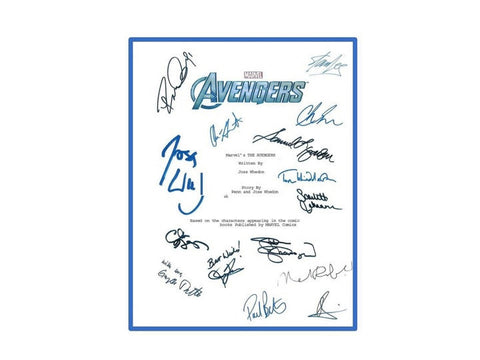 The Avengers Marvel Movie Script Autographed Signed: Joss Whedon, Stan Lee, Robert Downey Jr., Scarlett Johansson, Samuel L. Jackson & More