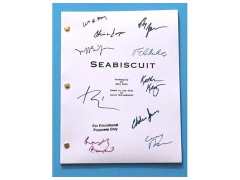 Seabiscuit Movie Script Autographed: Tobey MaGuire, Jeff Bridges, Chris Cooper, Elizabeth Banks, Eddie Jones, William H. Macy, & More
