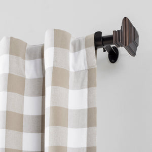 "Florence 1"" Window Drapery Single Curtain Rod with Stacked Square Finial"