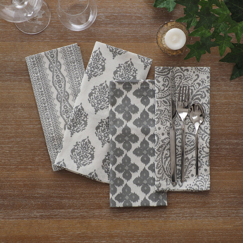 set of 24 gray napkins