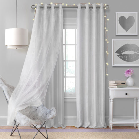 Aurora Faux Silk with Sheer Overlay Single Curtain Panel