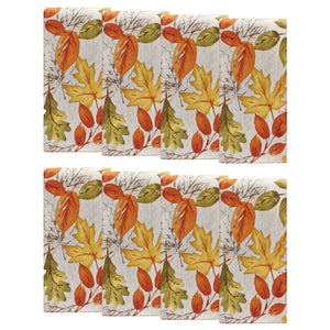 Autumn Leaves Fall Printed Napkins, Set of 8