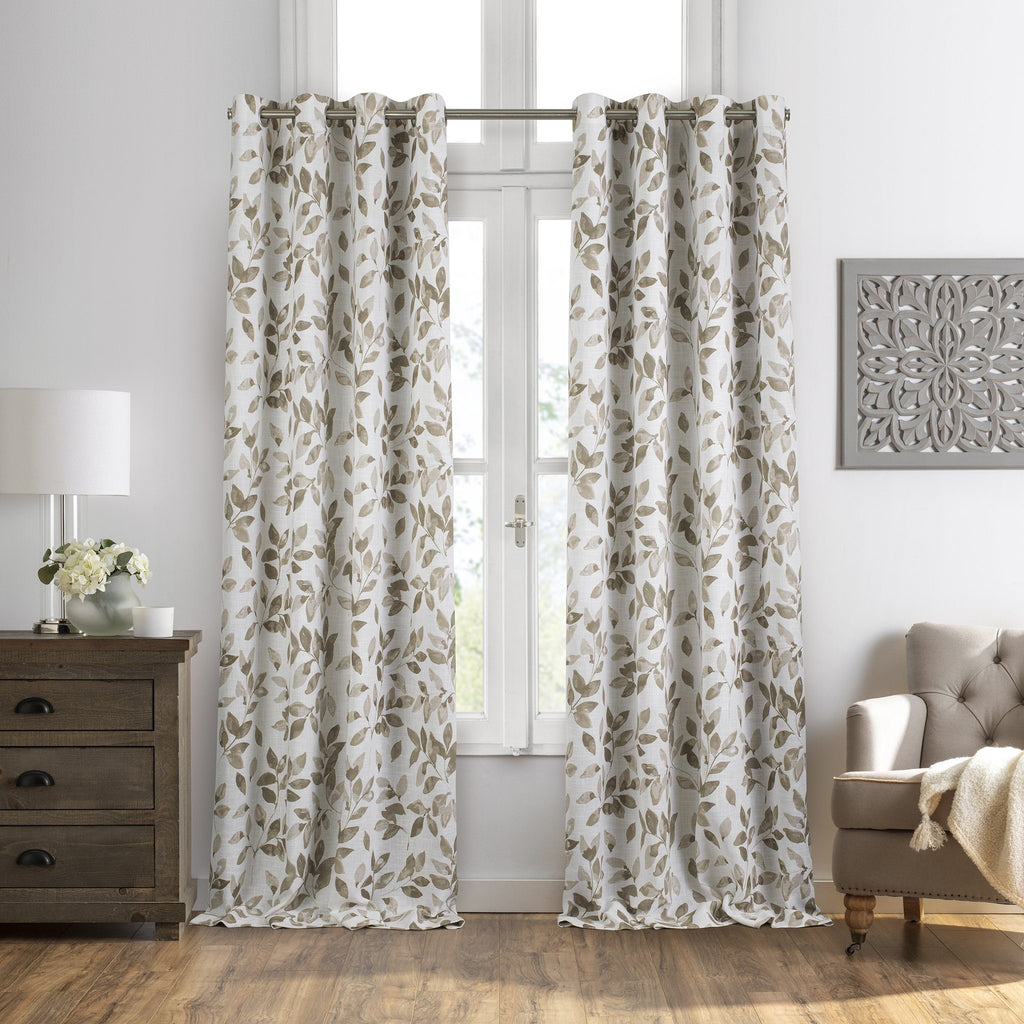 Avalon Botanical Leaf Print Blackout Window Curtain