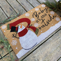Farmhouse Living Snowman Baby It's Cold Outside Winter Coir Doormat