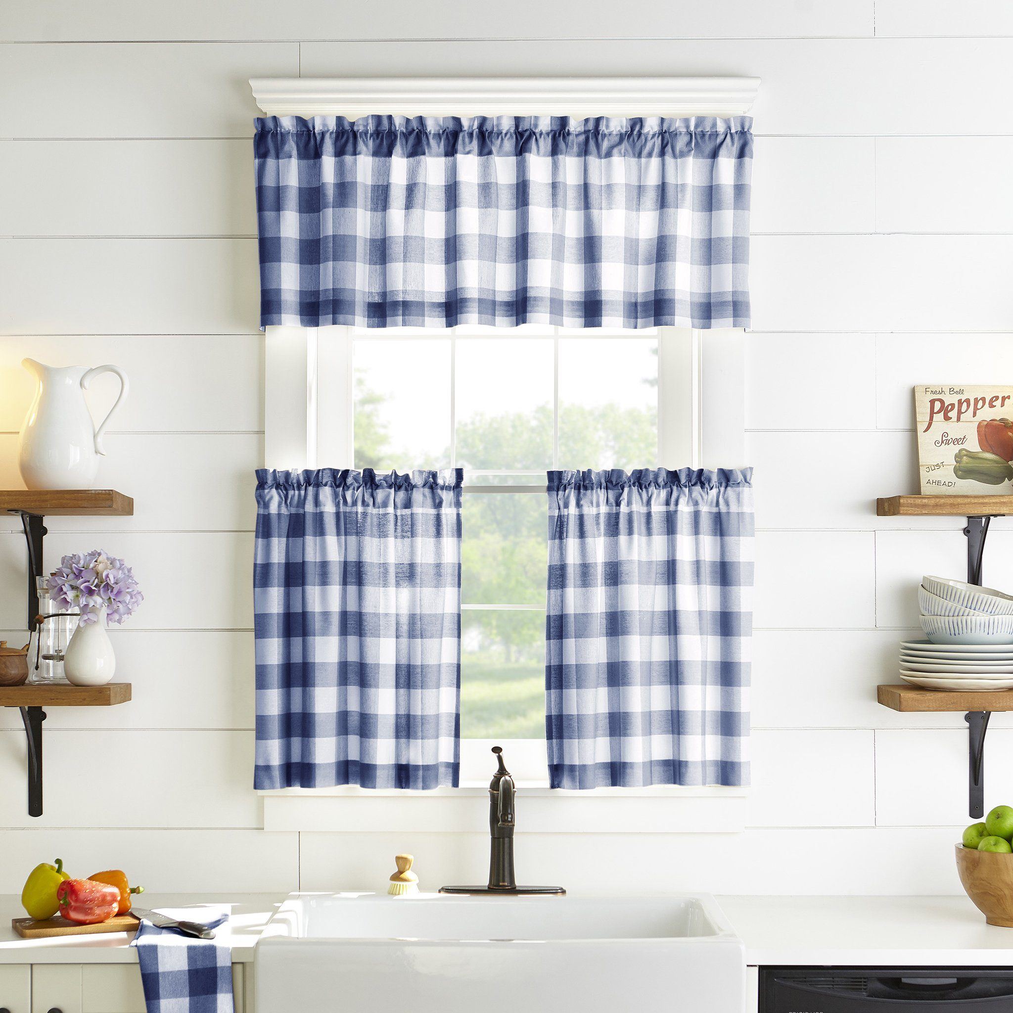 Farmhouse Living Buffalo Check Kitchen Window Collection Elrene Home Fashions