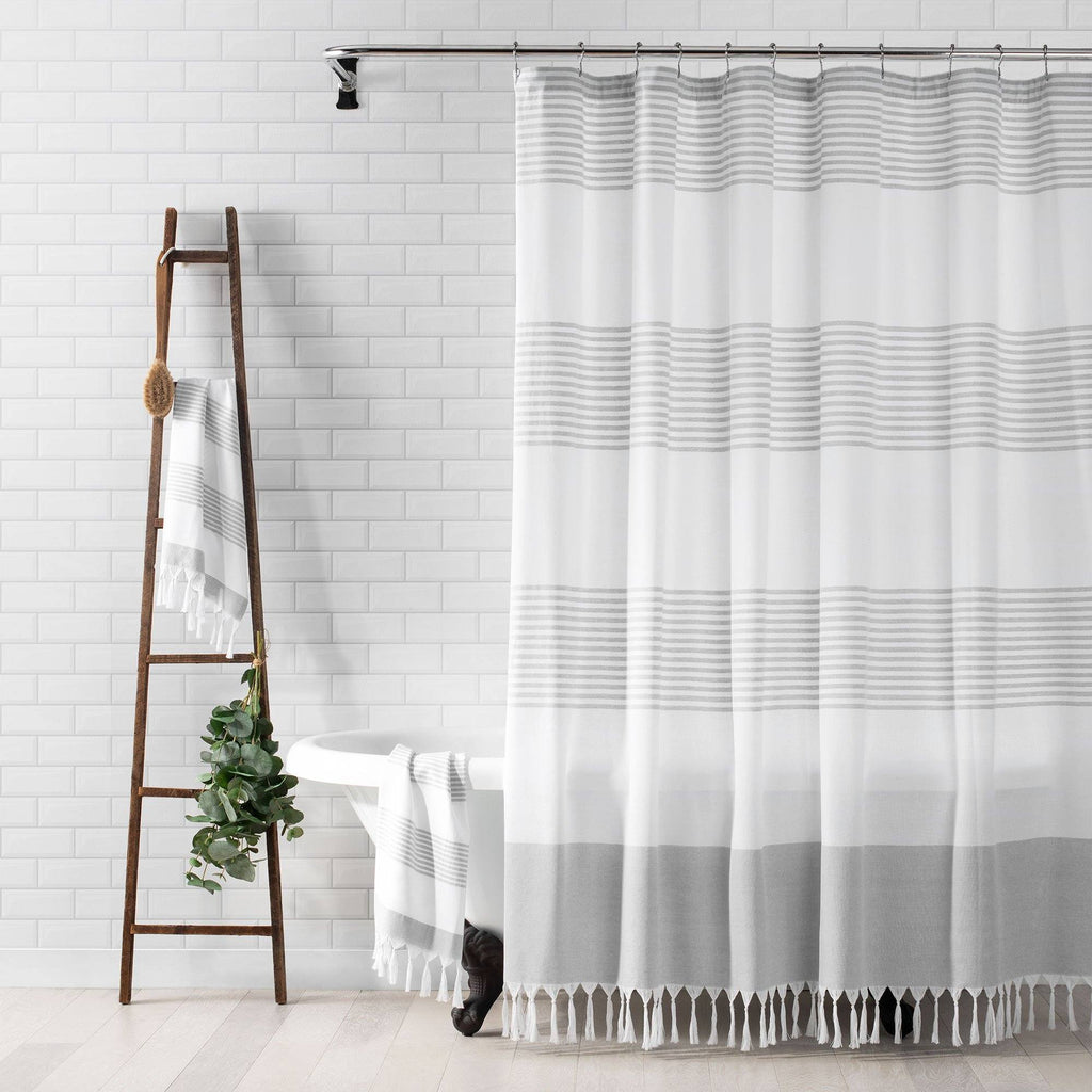 Boho Harper Stripe Knotted Tassel Fabric Shower Curtain