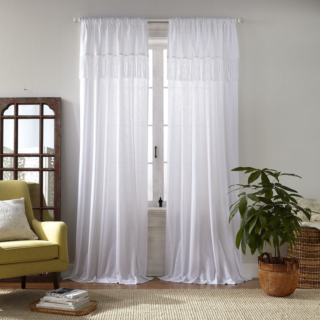 Calypso Macramé Tassel Semi Sheer Window Curtain