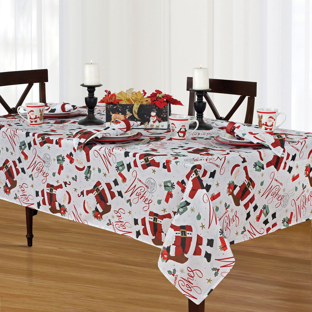 Santa Christmas Wishes Holiday Fabric Tablecloth