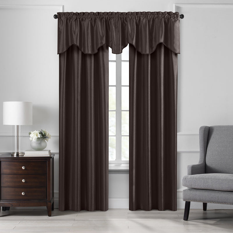 Colette Faux Silk Blackout Window Curtain & Scallop Valance