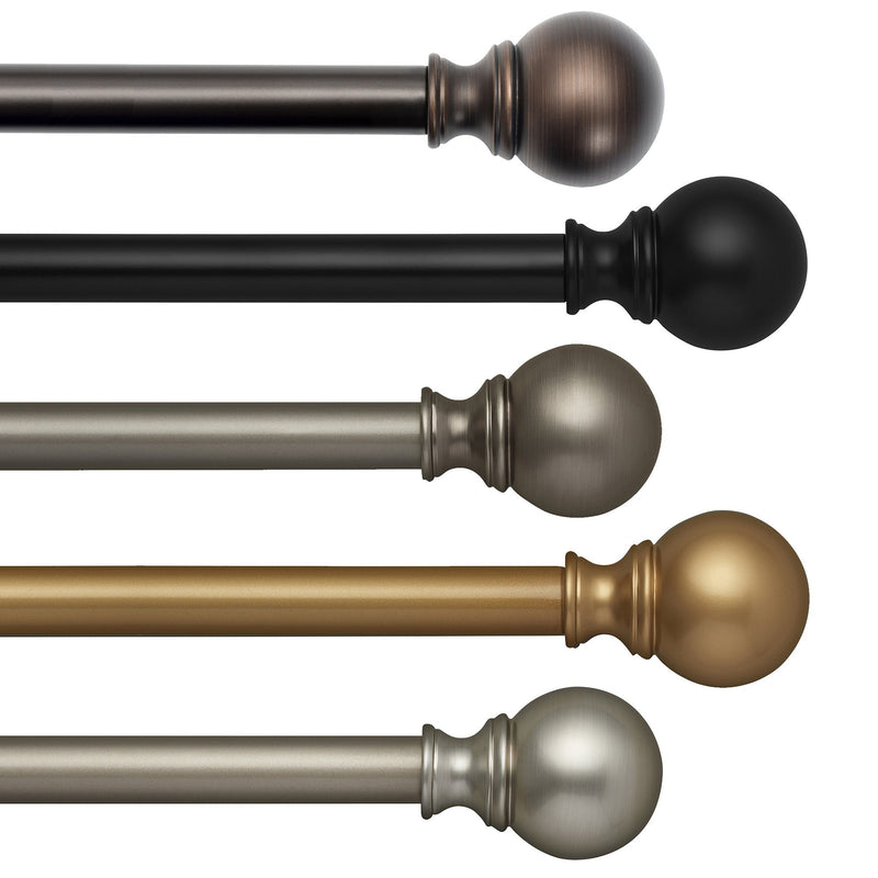 "Cordelia 1"" Window Drapery Single Curtain Rod with Globe Ball Finial"