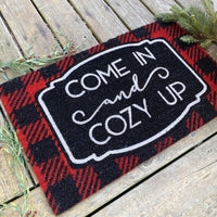 Farmhouse Living Come In and Cozy Up Winter Coir Doormat