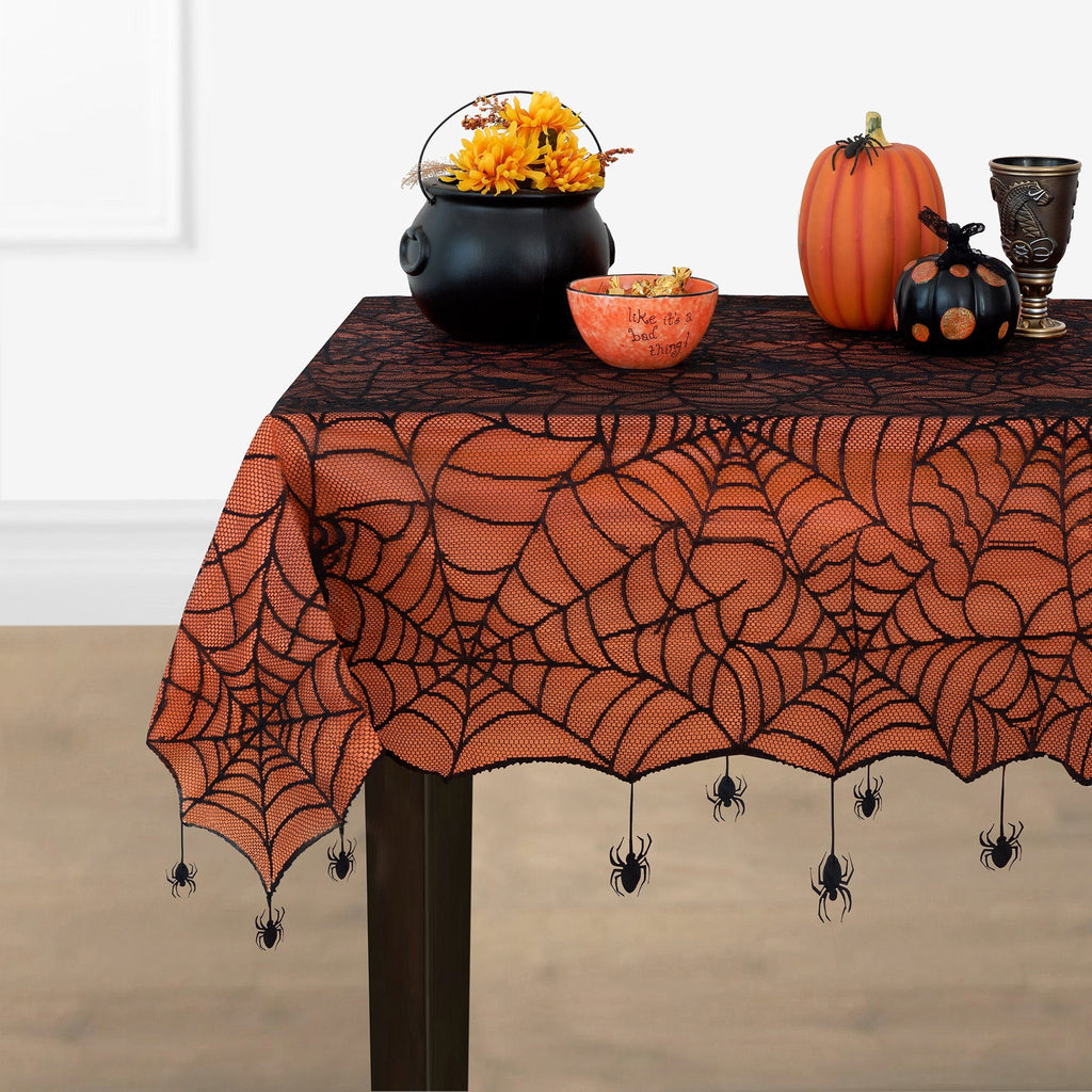 Crawling Halloween Spider Lace Lined Tablecloth