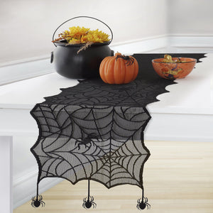 Crawling Halloween Spider Lace Table Runner