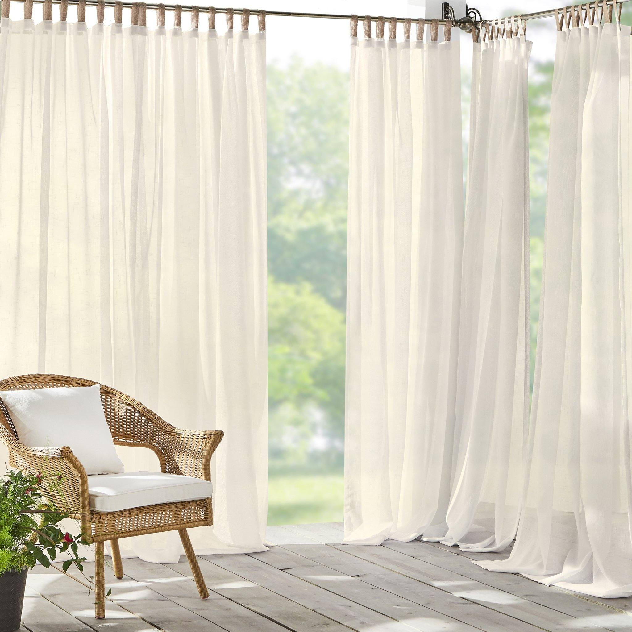 Darien Solid Indoor Outdoor Sheer Tab Top Window Curtain Panel Elrene Home Fashions