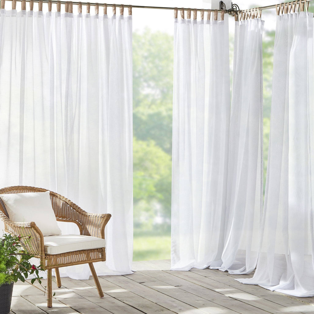 Darien Solid Indoor/Outdoor Sheer Tab Top Window Curtain Panel