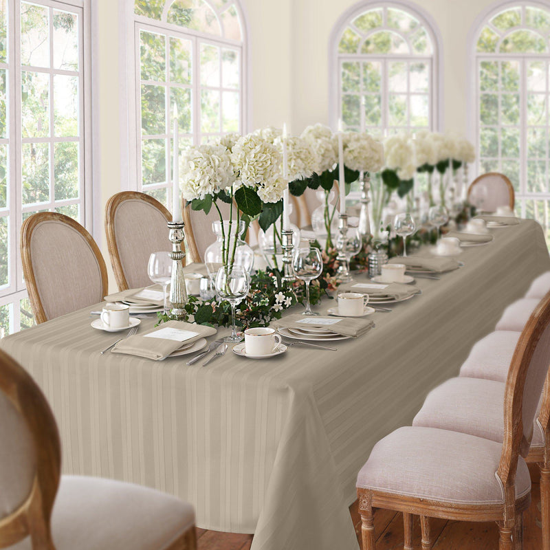 gray stripe tablecloth
