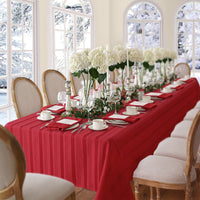 red stripe tablecloth