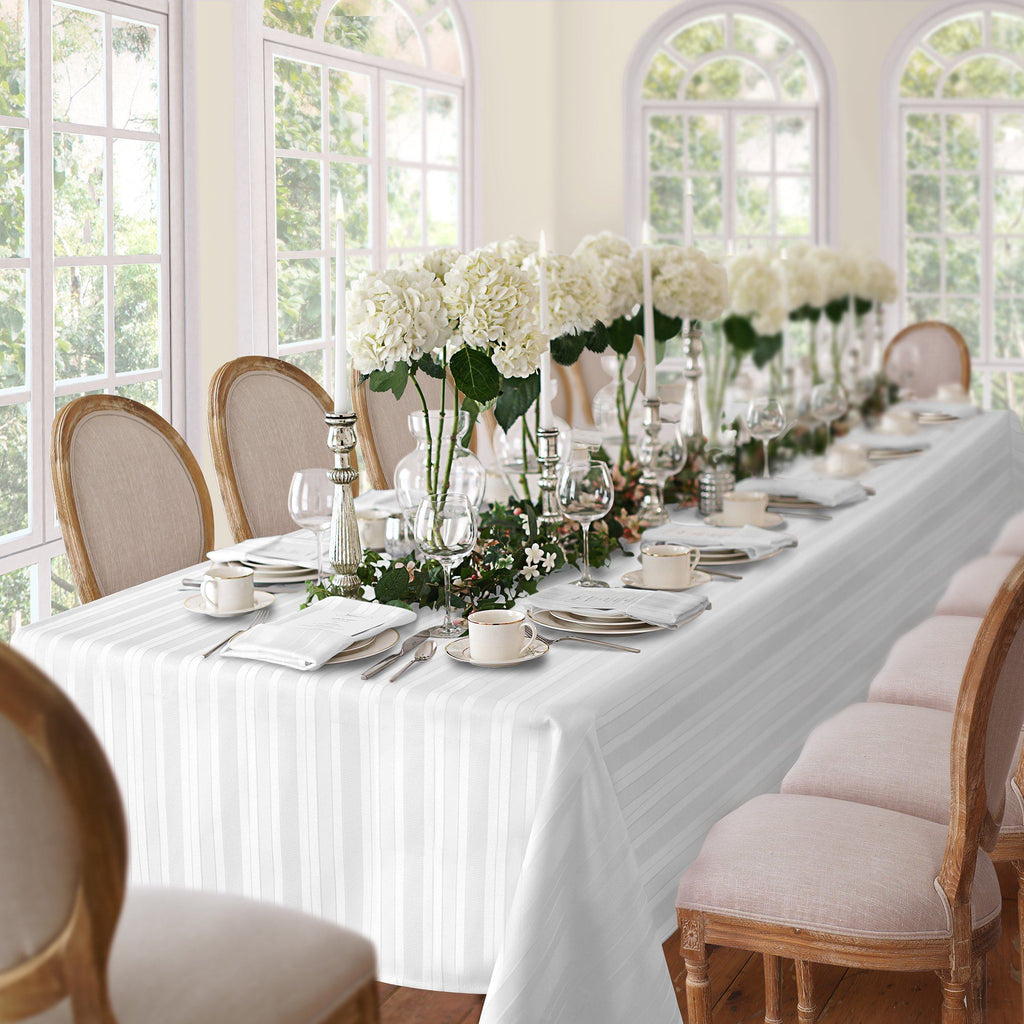 white stripe tablecloth