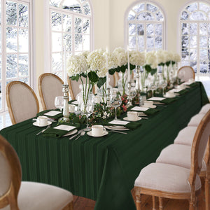 green stripe tablecloth