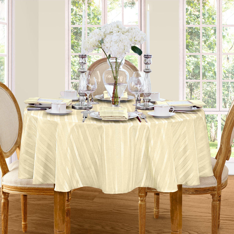 ivory stripe tablecloth