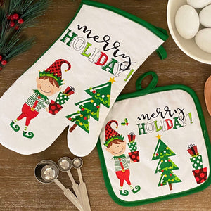 Christmas Elf- Merry Holiday Oven Mitt and Pot Holder Gift, Set of 2