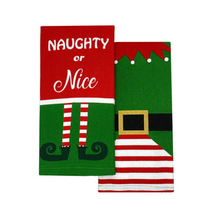 Elf Naughty or Nice Cotton Christmas Holiday Kitchen Towels, Set of 2