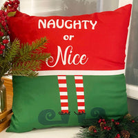 Elrene Home Fashions Elf Naughty or Nice Christmas Holiday Decorative Throw Pillow