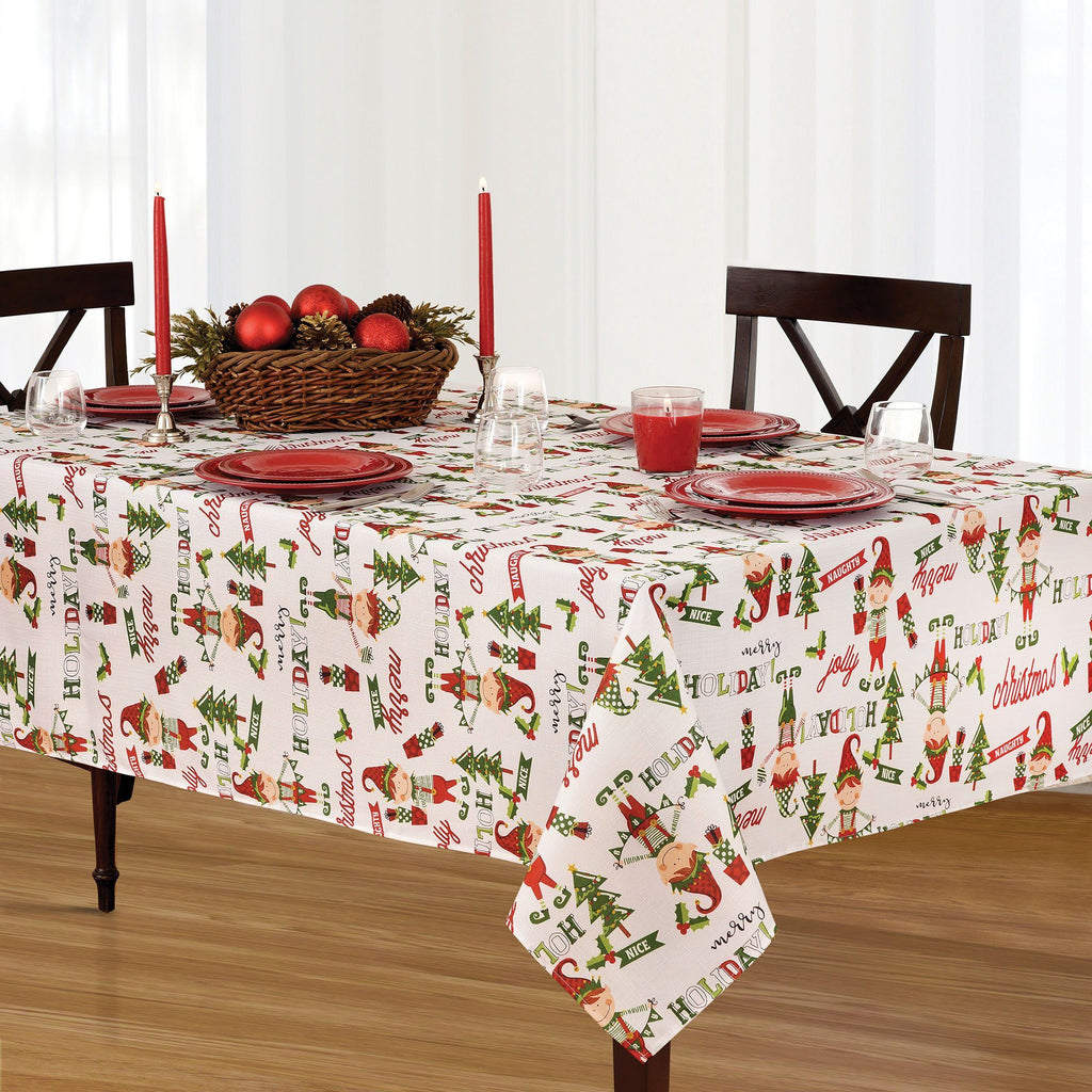 Elf - Merry Holiday Naughty or Nice Jolly Christmas Fabric Tablecloth