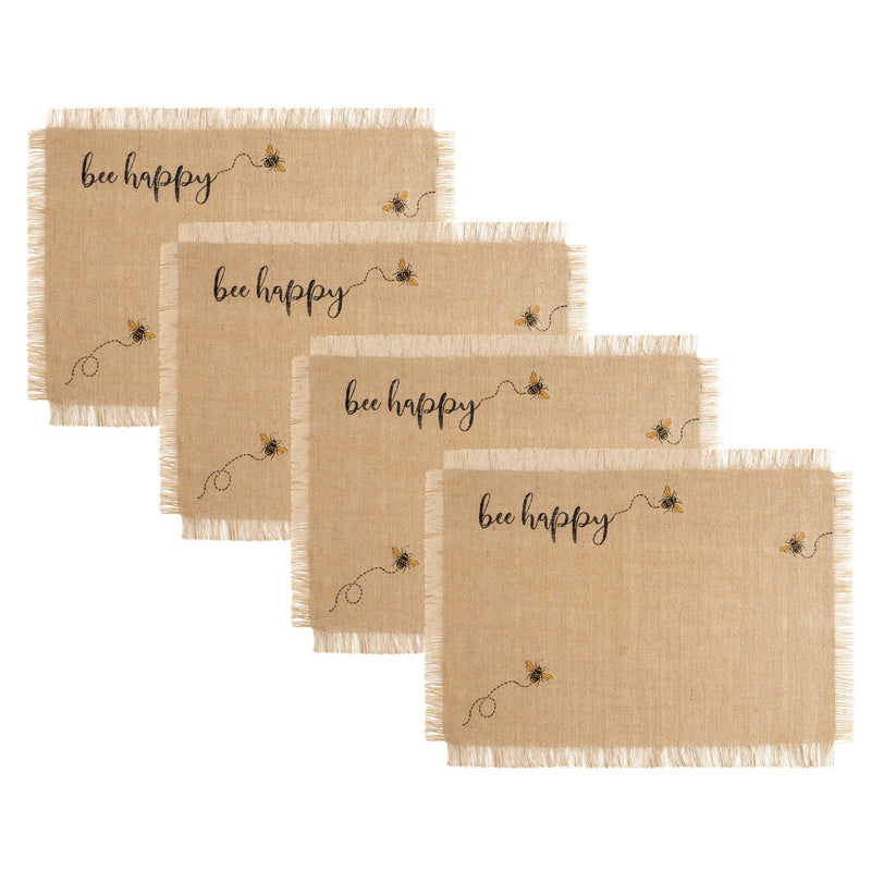 Farmhouse Living Bee Happy Burlap Placemats, Set of 4