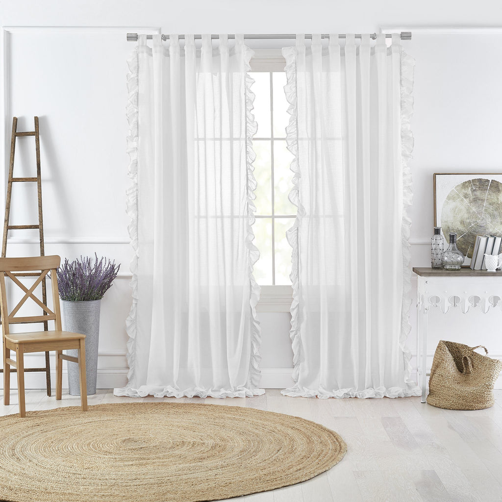 Bella Tab-Top Ruffle Sheer Window Curtain