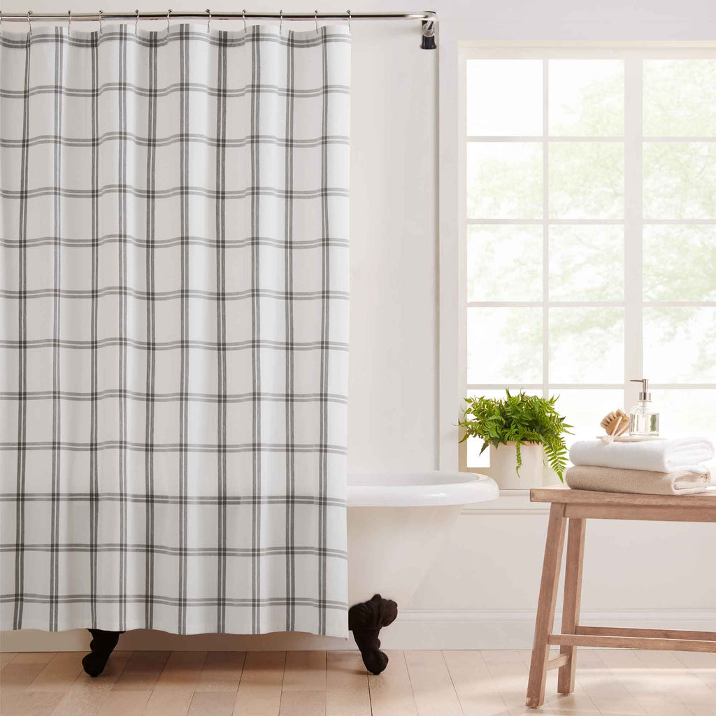 Farmhouse Living Double Windowpane Plaid Fabric Shower Curtain