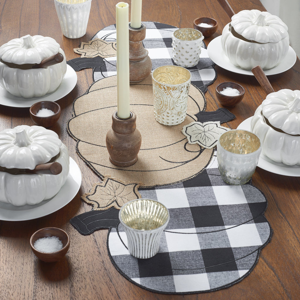 Burlap and Check Pumpkin Centerpiece Runner