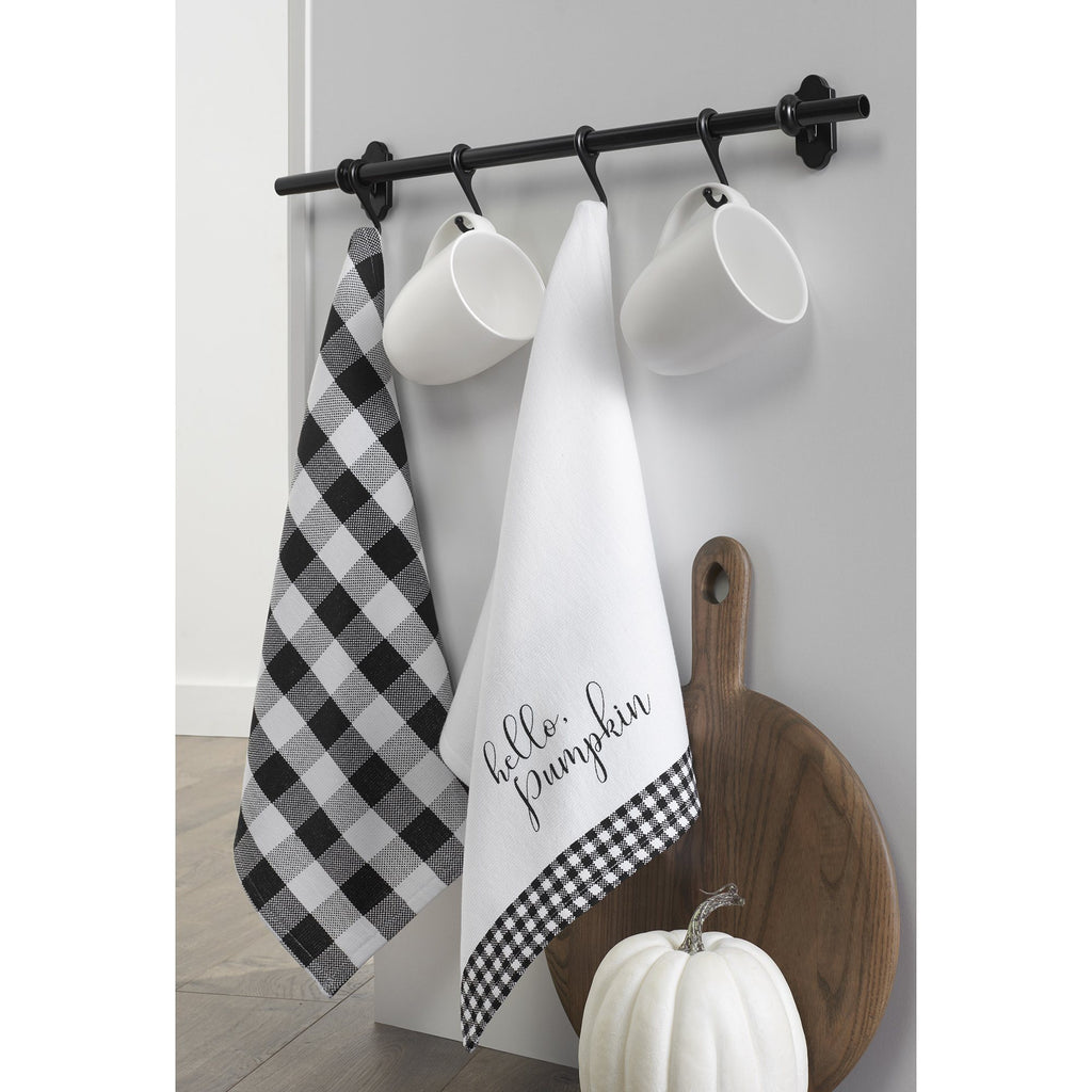 Hello Pumpkin and Check Kitchen Towel Set