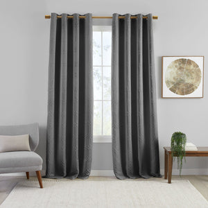 Huxley Geometric Blackout Embroidered Textured Window Curtain Panel