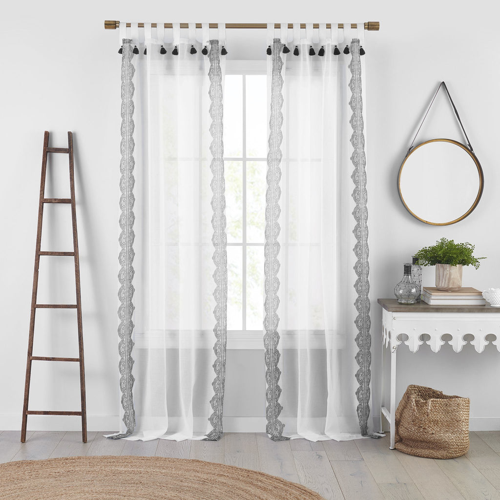 Shilo Boho Sheer Tab Top Window Curtain Panel with Tassels