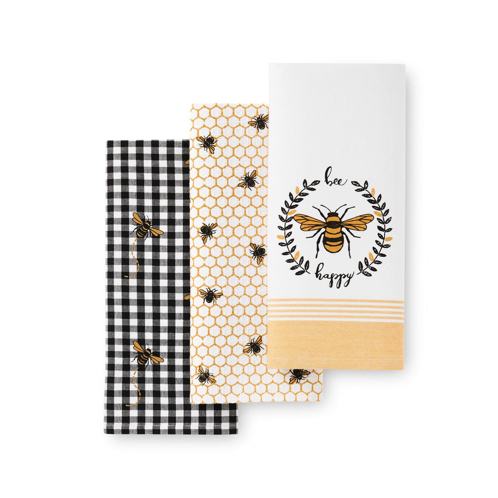Farmhouse Living Bee Happy Honeycomb Kitchen Towels, Set of 3