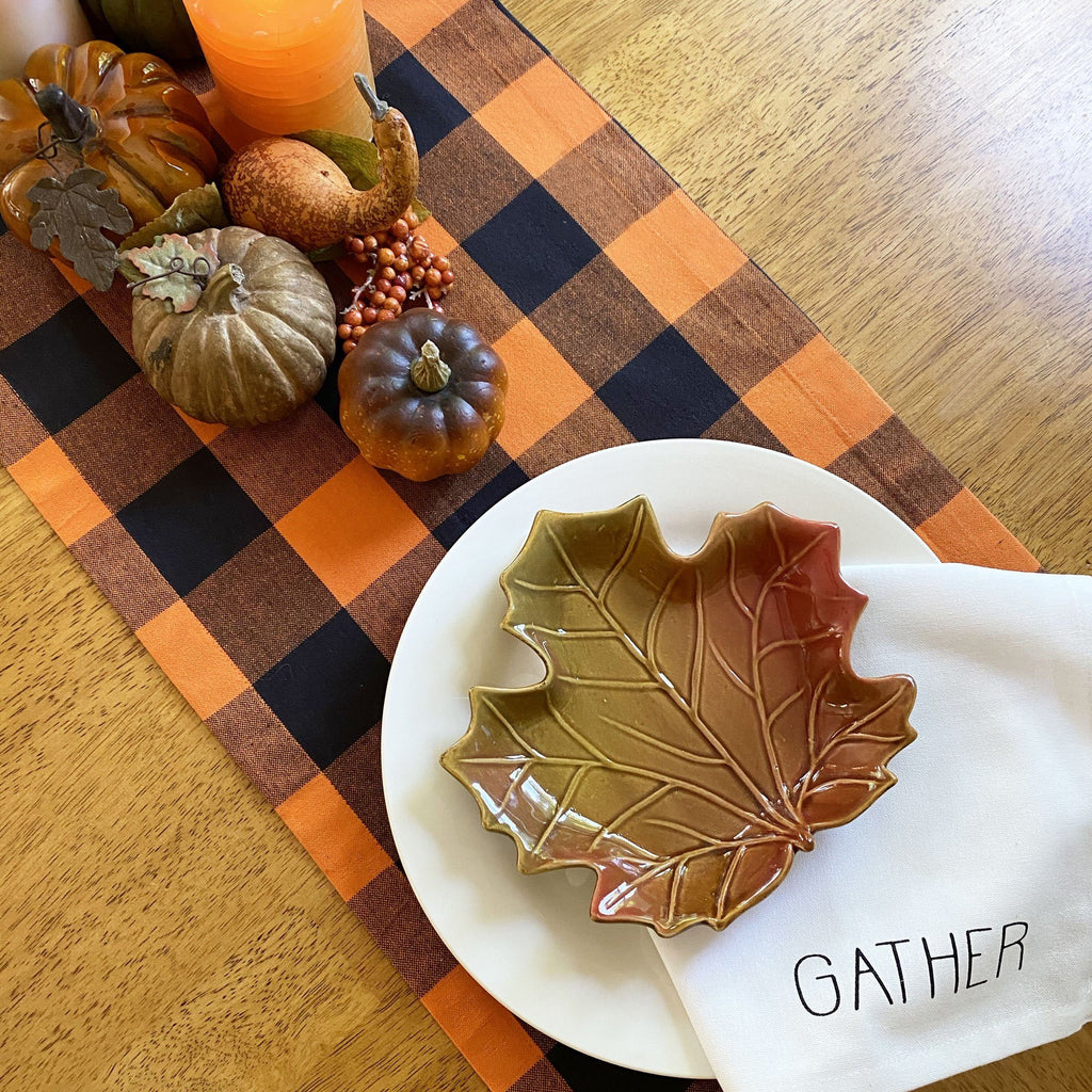 Farmhouse Living Fall Buffalo Check Table Runner
