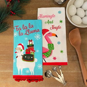 Fa la Llama Pom Pom and Flamingle and Jingle Christmas Holiday Kitchen Towels, Set of 2