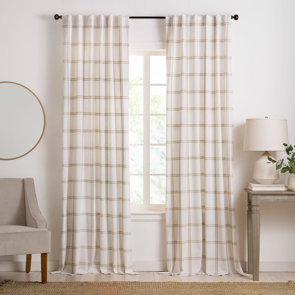 Farmhouse Living Double Windowpane Plaid Room Darkening Window Curtain Panel