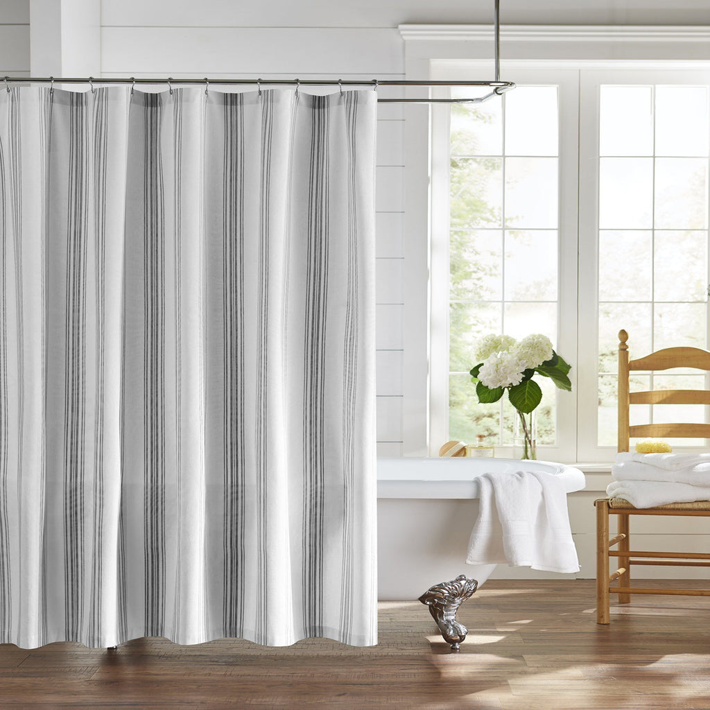 Farmhouse Living Homestead Stripe Fabric Bathroom Shower Curtain