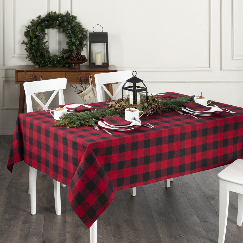 Farmhouse Living Holiday Buffalo Check Tablecloth